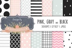 Pink, black and gray geometric digital paper, Baby shower pa Product Image 1