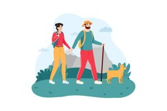 Couple traveling with dog. Young man and woman hiking or tre Product Image 1