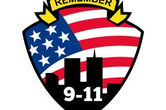 9-11 World Trade Center American Flag Shield Product Image 1