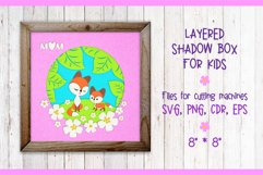 Mama fox with a baby fox. Shadow Box Template svg Product Image 1