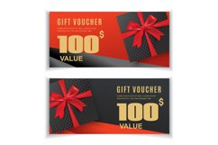 Vector red black voucher with black gift red ribbon Product Image 1