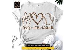 Peace Love Baseball - Baseball Player SVG DXF EPS PNG Product Image 2