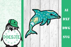 Layered Dolphin SVG multi layer mandala sea animal nautical Product Image 3