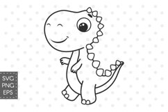 Dinosaur SVG, baby dino SVG, PNG, Cute dinosaur clipart. Product Image 1