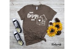 Fall Mockup | Bella Canvas 3001 T-shirt | Heather Brown Product Image 1