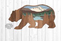 Bear Scene Layered Wall Sign SVG Glowforge Files Product Image 1