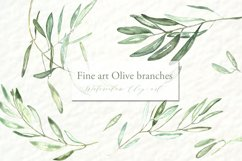Olive branches. Watercolor clipart. Product Image 1