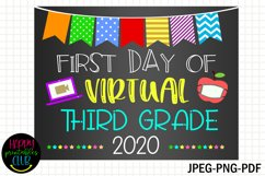 First Day Virtual Third Grade Sign- First Day of Third Grade Product Image 1