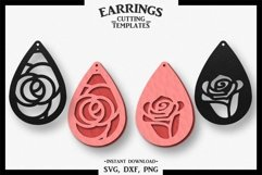 Rose Earring, Silhouette Cameo, Cricut, Cut, SVG DXF PNG Product Image 1