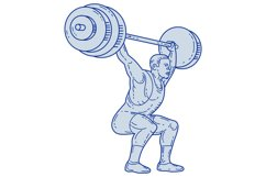 Weightlifter Lifting Barbell Mono Line Product Image 1