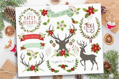 Farmhouse Christmas, Reindeer Silhouettes, Vector Clipart Product Image 1