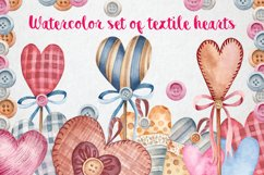 Watercolor set of textile hearts Product Image 1