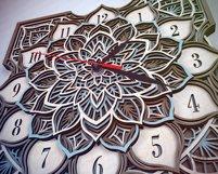 C16 - Laser Cut Wall Clock DXF, Mandala Clock, Wooden Clock Product Image 6