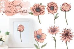 Pastel pink and blue flowers clipart, summer floral png Product Image 5