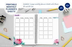 Undated monthly planner's sheets with watercolor flower A5 Product Image 1