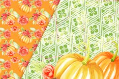 Pumpkins and flowers digital paper pack Product Image 2