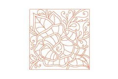 Redwork Rose Quilting Set of 4 Machine Embroidery Product Image 4