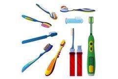 Toothbrush icon set, cartoon style Product Image 1