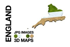 ENGLAND 3D Maps Images Dry Earth Snow Grass Product Image 1