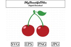 cherry SVG - Cute fruit SVG, EPS, PNG and JPG Product Image 1