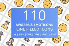 110 Avatars & Emoticons Filled Line Icons Product Image 1