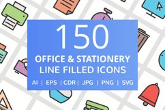 150 Office & Stationery Filled Line Icons Product Image 1