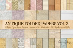 30 Folded Crumpled Antique Vintage Old Papers 8.5x11 Vol.3 Product Image 1