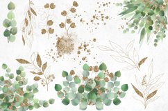 Watercolor and Gold Eucalyptus Clipart Product Image 5
