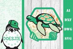 Sea turtle layered multi layer mandala sea nautical 3d svg Product Image 2