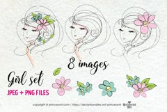 hand drawn pretty girl art set 2, girl face with flowers Product Image 2