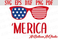 America Svg Merica SVG Merica sunglasses Svg 4th of July Svg Product Image 1