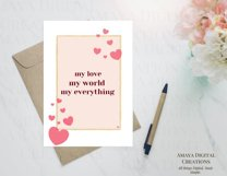 My love world everything Card E card,Card Instant Download Product Image 6
