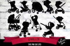 Stroller svg file, pram svg cut file, silhouette studio Product Image 1