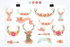 Antlers, deers and flowers Graphics and illustrations, vecto Product Image 5