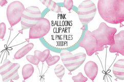 Pink Watercolor Balloon Clipart Set Product Image 1
