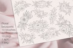 Peony flowers procreate stamp brushes, clipart Product Image 5