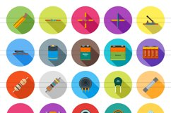 50 Electric Circuits Flat Long Shadow Icons Product Image 2