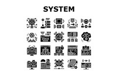 System Work Process Collection Icons Set Vector Product Image 1