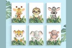 Set of 6 Safari Animal. Nursery Wall Decor. Tropical Animals Product Image 1