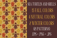 Sea Turtle and Seashells Fall Color Palette Seamless Pattern Product Image 1