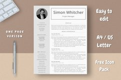 Project Manager Resume Template With Photo Product Image 2