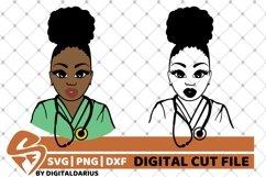 2x Black Nurse Bundle svg, Surgeon svg, Afro Bun svg, Doctor Product Image 1