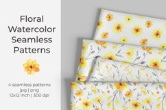 Yellow floral watercolor seamless pattern / digital paper Product Image 1