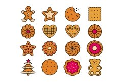 16 Cookie Icons, colored and outline style Product Image 2