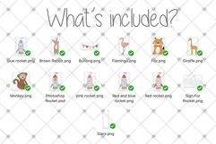 Space, Animal, Cartoon, Nursery, Rocket, Clipart, Boys, Product Image 3