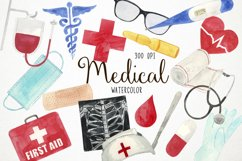 Watercolor Medical Clipart, Doctor Clipart, Health Clipart Product Image 1