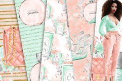 Fashion Digital Paper Pack, Hand Drawn Watercolor Fashion Product Image 2