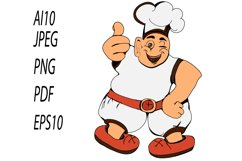 Clipart/Character with a fat chef with thumbs up Product Image 4