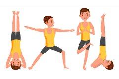 Yoga Man Poses Set Male Vector. Yoga Figures Product Image 1