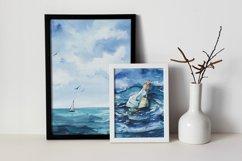 Seascape set of illustrations. Watercolor sea, ship, wave Product Image 6